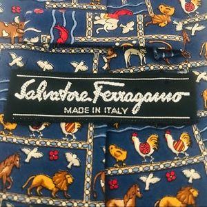 Salvatore Ferragamo Silk Tie: Animals, Fish, Birds